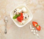 Nachtisch mit Eiscreme und Erdbeeren mit Schokolade Lizenzfreie Stockfotos
