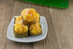 Nachtisch thailändischer süßer sugarpalm Kuchen mit Kokosnuss Stockbild