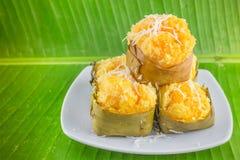 Nachtisch thailändischer süßer sugarpalm Kuchen mit Kokosnuss Stockfotos