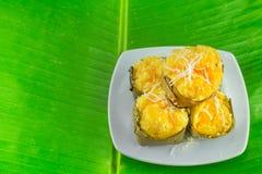 Nachtisch thailändischer süßer sugarpalm Kuchen mit Kokosnuss Lizenzfreies Stockfoto