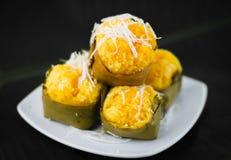 Nachtisch thailändischer süßer sugarpalm Kuchen mit Kokosnuss Lizenzfreie Stockfotografie