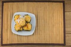Nachtisch thailändischer süßer sugarpalm Kuchen mit Kokosnuss Lizenzfreie Stockfotos