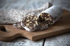 Nachtisch von Plätzchen, von Schokolade, von Kaffee und von Milch Stockfotografie