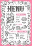 Nachtischmenü für Restaurant mit Rahmen von Hand gezeichneten Früchten und Lizenzfreie Abbildung
