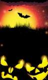 Nachtkürbismonster mit glühenden Augen Stockfotografie