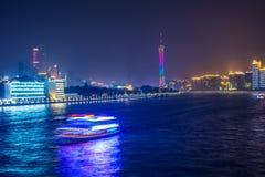 Nachtkreuzfahrt und -pearl River Lizenzfreies Stockfoto