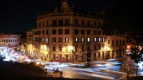 Nachtkruispunten in Rome stock foto's