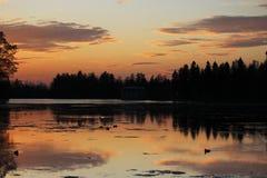 Nachtlandschaft - die Satzsonne im Abendhimmel über dem See, der Schattenbilder von Bäumen reflektiert Stockbild