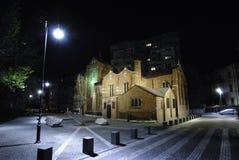 Englische Kirche in Bucharest während der Nacht Lizenzfreies Stockfoto