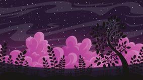 Nachtlandschaft mit Wolken und Sternen stock footage