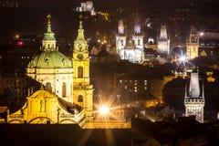 Nachtlandschaft von Prag, Tschechische Republik Lizenzfreies Stockbild