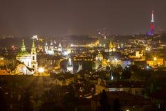 Nachtlandschaft von Prag, Tschechische Republik Lizenzfreie Stockfotografie
