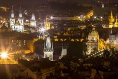 Nachtlandschaft von Prag, Tschechische Republik Stockfotografie