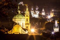 Nachtlandschaft von Prag, Tschechische Republik Stockfoto