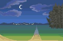 Nachtlandschaftslandschaft, Pixelkunst stock abbildung