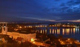 Nachtlandschap Esztergom, Hongarije Royalty-vrije Stock Afbeelding