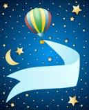 Nachtlandschap met ballon en banner Royalty-vrije Stock Afbeelding