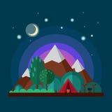Nachtlandschap met bergen Royalty-vrije Stock Afbeeldingen