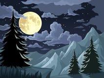 Nachtlandschap met bomen, bergen en volle maan Vector illustratie Stock Afbeelding
