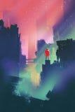 Nachtlandschap met de rode mens die zich op verlaten stad bevinden vector illustratie