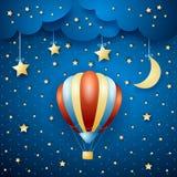 Nachtlandschap met hete luchtballon Stock Foto's