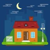 Nachtlandschap met Huis in een Vlak Ontwerp Stock Foto