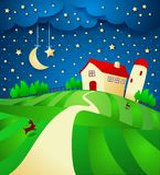 Nachtlandschap met landbouwbedrijf en sterrige hemel Stock Afbeeldingen