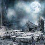 Nachtlandschap met stadspuin vector illustratie