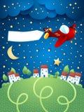 Nachtlandschap met vliegtuig, banner en dorp Stock Afbeelding