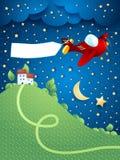 Nachtlandschap met vliegtuig, banner en heuvel Royalty-vrije Stock Afbeeldingen