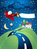 Nachtlandschap met vliegtuig, banner en heuvelige weg Royalty-vrije Stock Afbeeldingen