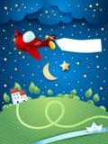 Nachtlandschap met vliegtuig, banner en rivier Royalty-vrije Stock Fotografie