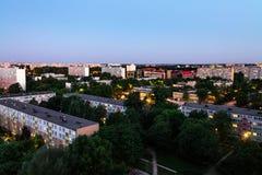 Nachtlandschap van de stad van Wroclaw, huis van de hoogte royalty-vrije stock afbeelding