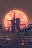 Nachtlandschap van futuristische stad met rode planeet op achtergrond, royalty-vrije illustratie