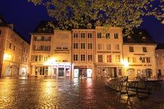 Nachtlandschap van Mulhouse Stock Foto
