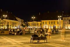 Nachtleben in historischer Mitte Sibius Lizenzfreies Stockbild