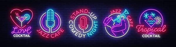 Nachtlebensammlungsleuchtreklamen Design-Schablone, stellte Logos in der Neonart, stehen oben, tropisches Cocktail, Liebes-Cockta stock abbildung