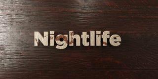 Nachtleven - grungy houten krantekop op Esdoorn - 3D teruggegeven royalty vrij voorraadbeeld stock illustratie