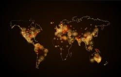 Nachtlicht in de steden op planeet, de mening van de wereldkaart van ruimte stock illustratie