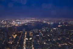 Nachtlichten in New York en New Jersey royalty-vrije stock afbeelding