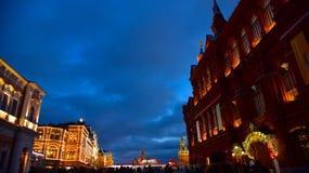 Nachtlichten Rood vierkant Royalty-vrije Stock Afbeelding