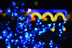 Nachtlichten in stadskko bij nacht Royalty-vrije Stock Afbeeldingen