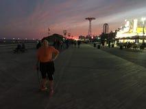 Nachtlichten van Coney Island Stock Afbeeldingen