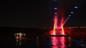 Nachtlichten van de Brug van Istanboel ` s stock video