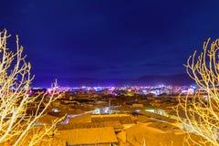 Nachtlichten van de oude stad van Shangri-La Stock Fotografie