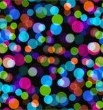 Nachtlichter Nahtloser bokeh Vektorhintergrund Buntes transparentes Kreismuster auf schwarzem Hintergrund Stockfoto