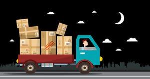 Nachtlieferservice Van voll von den Paketen auf Straße lizenzfreie abbildung