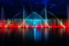 Nachtmagische Show von Brunnen auf der zentralen Ufergegend Roshen Lizenzfreies Stockbild