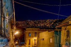 Nachtmening naar Bergenla Paz Bolivia Royalty-vrije Stock Afbeeldingen