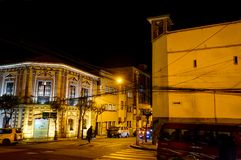 Nachtmening naar Bergenla Paz Bolivia Stock Foto